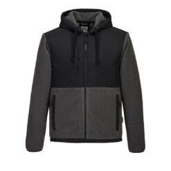 Bluza kurtka polarowa PORTWEST KX371 do pracy ochronna robocza dla pracowników wytrzymała ciepła bhp sklep system internetowy z kapturem baranek polar szary czarny