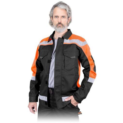 Bluza robocza REIS PROM-J do pracy ochronna kurtka drelichowa ubranie robocze ochronne dla pracowników bhp sklep system internetowy z odblaskami czarna pomarańczowa