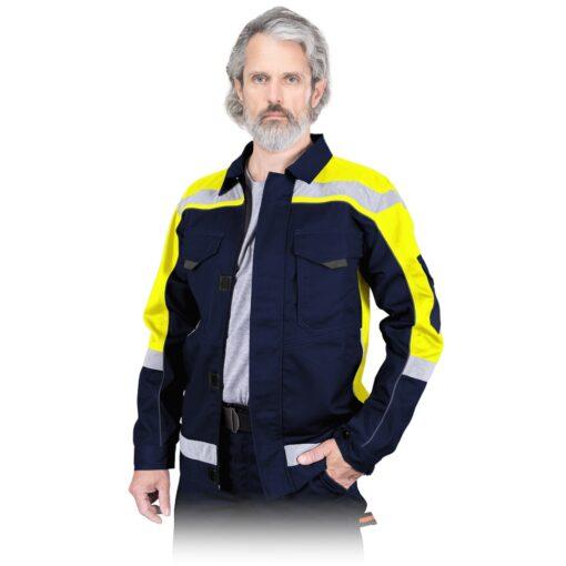 Bluza robocza REIS PROM-J do pracy ochronna kurtka drelichowa ubranie robocze ochronne dla pracowników bhp sklep system internetowy z odblaskami granatowa żółta