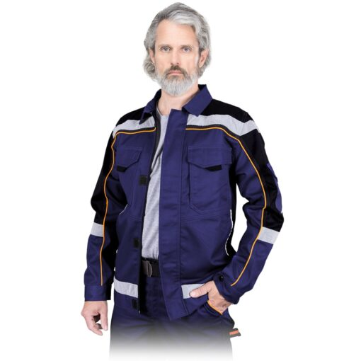Bluza robocza REIS PROM-J do pracy ochronna kurtka drelichowa ubranie robocze ochronne dla pracowników bhp sklep system internetowy z odblaskami niebieska czarna