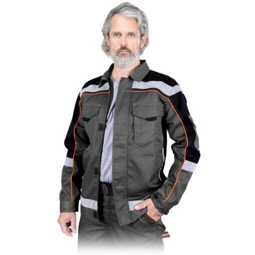 Bluza robocza REIS PROM-J do pracy ochronna kurtka drelichowa ubranie robocze ochronne dla pracowników bhp sklep system internetowy z odblaskami szara czarna