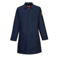 Fartuch trudnopalny PORTWEST FR34 spawalniczy niepalny płaszcz laboratoryjny odzież ochronna bhp sklep system internetowy ślusarski antystatyczny antyelektrostatyczny granatowy