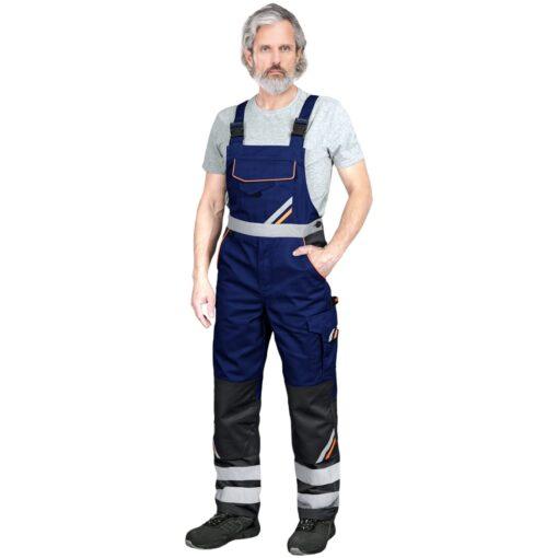 Ogrodniczki robocze REIS PROM-B do pracy ochronne odzież robocza bhp sklep system internetowy z odblaskami dla pracowników wytrzymałe szwedy szwedzkie na szelkach niebieskie czarne