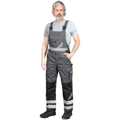 Ogrodniczki robocze REIS PROM-B do pracy ochronne odzież robocza bhp sklep system internetowy z odblaskami dla pracowników wytrzymałe szwedy szwedzkie na szelkach szare czarne
