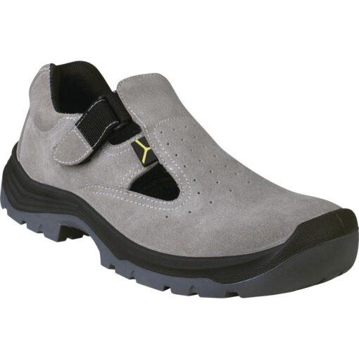 Sandały robocze DELTA PLUS BRISBANE 2 S1 SRC obuwie robocze ochronne wygodne welurowe skórzane skórkowe bhp sklep system internetowy dla pracowników antypoślizgowe z podnoskiem noskiem stalkapy szare czarne