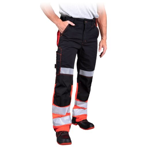 Spodnie robocze ostrzegawcze LH THORVIS do pracy ochronne odblaskowe odzież robocza dla pracowników dla drogowców służby drogowe z odblaskami wysokiej widoczności mocne pomarańczowe czarne bhp sklep system internetowy