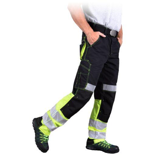 Spodnie robocze ostrzegawcze LH THORVIS do pracy ochronne odblaskowe odzież robocza dla pracowników dla drogowców służby drogowe z odblaskami wysokiej widoczności mocne żółte czarne bhp sklep system internetowy